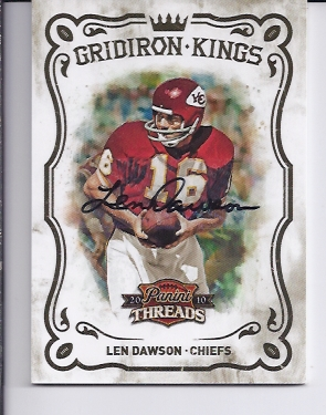 2010 Panini Threads Gridiron Kings Autographs #21 Len Dawson/50