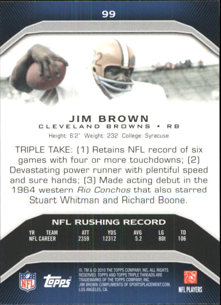 2010 Topps Triple Threads #99 Jim Brown back image