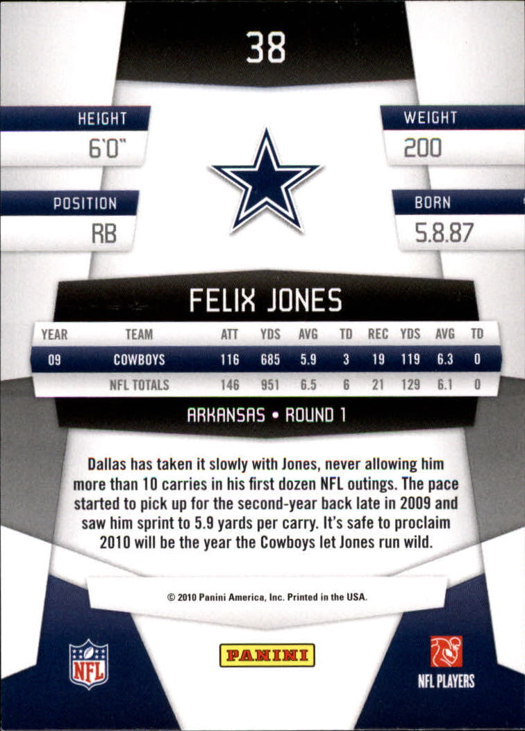 2010 Certified #38 Felix Jones back image