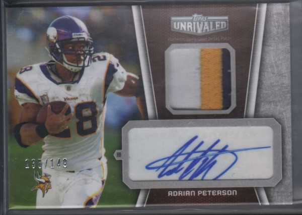 2010 Topps Unrivaled Autographed Patch #UAPAP Adrian Peterson/149