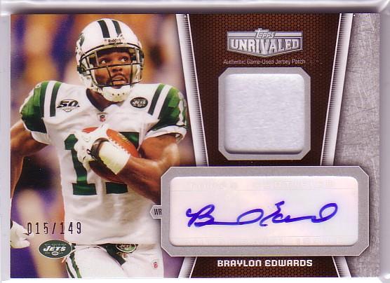 2010 Topps Unrivaled Autographed Patch #UAPBE Braylon Edwards/149