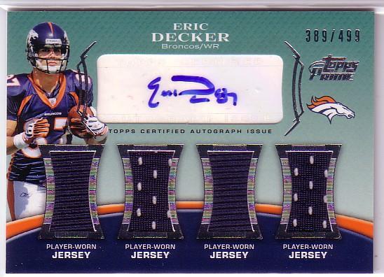 2010 Topps Prime Autographed Relics Level 5 #PL5ED Eric Decker/499