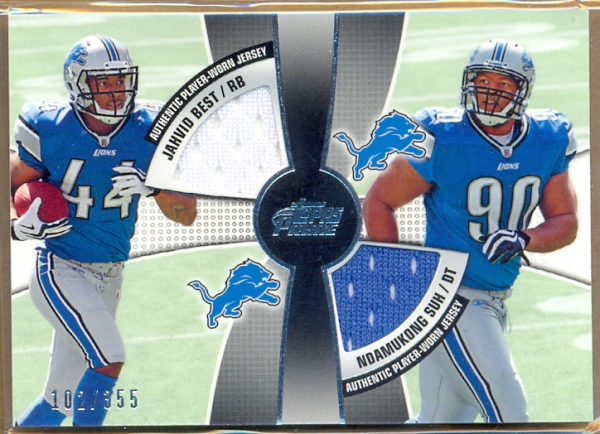 2010 Topps Prime 2nd Quarter Relics #BS Jahvid Best/355/Ndamukong Suh