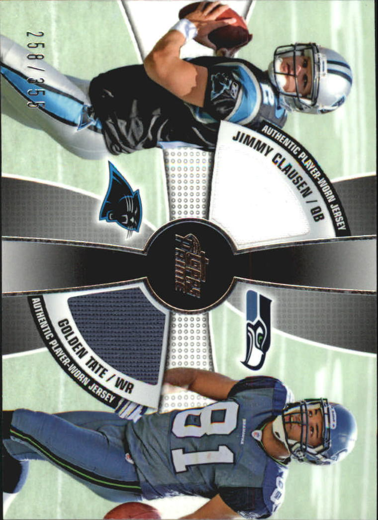 2010 Topps Prime 2nd Quarter Relics #CT Jimmy Clausen/355/Golden Tate
