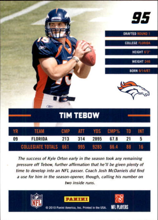 2010 Donruss Rated Rookies #95 Tim Tebow back image