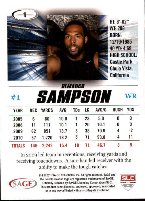 2011 SAGE HIT #1 DeMarco Sampson back image