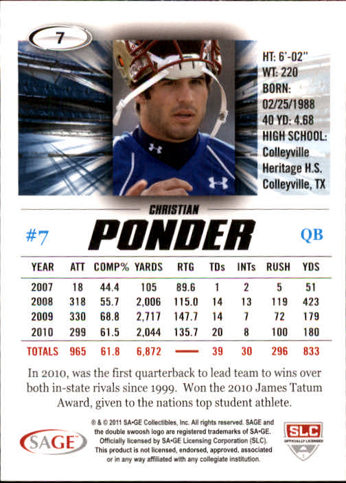 2011 SAGE HIT #7 Christian Ponder back image