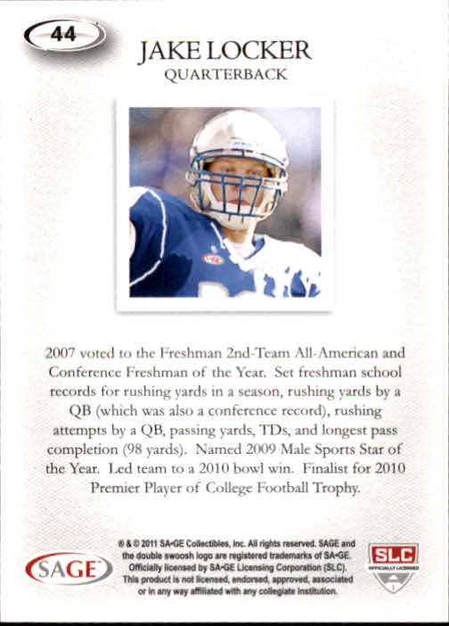 2011 SAGE HIT #44 Jake Locker Art back image