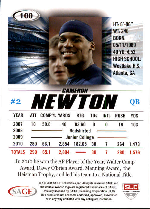2011 SAGE HIT #100A Cam Newton Blue back image