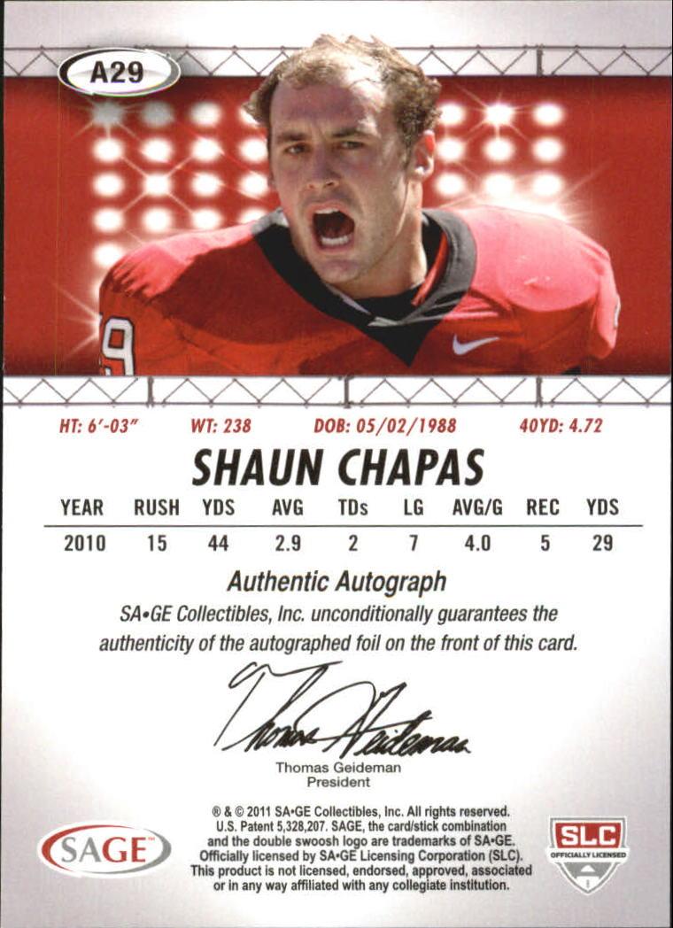 2011 SAGE HIT Autographs Gold #29 Shaun Chapas back image