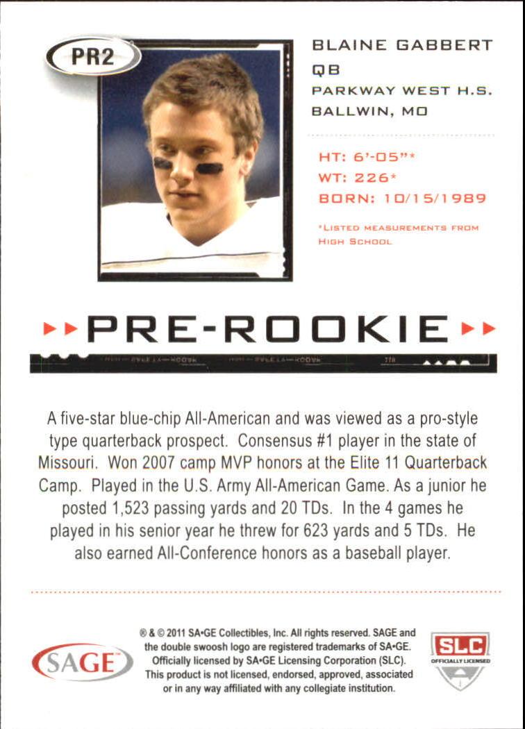 2011 SAGE HIT Pre-Rookie #PR2 Blaine Gabbert back image