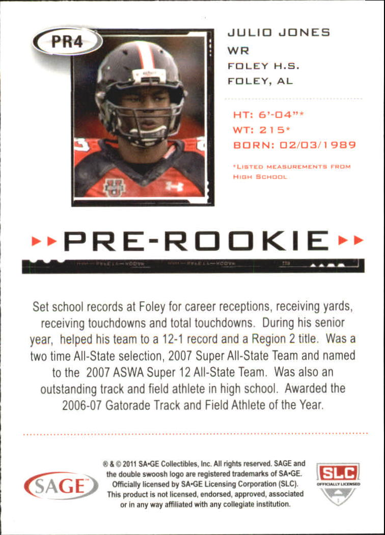 2011 SAGE HIT Pre-Rookie #PR4 Julio Jones back image