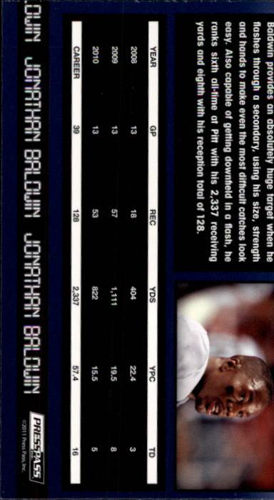 2011 Press Pass #36 Jonathan Baldwin back image