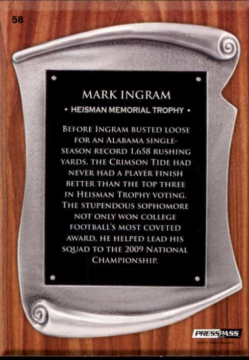 2011 Press Pass #58 Mark Ingram TC back image