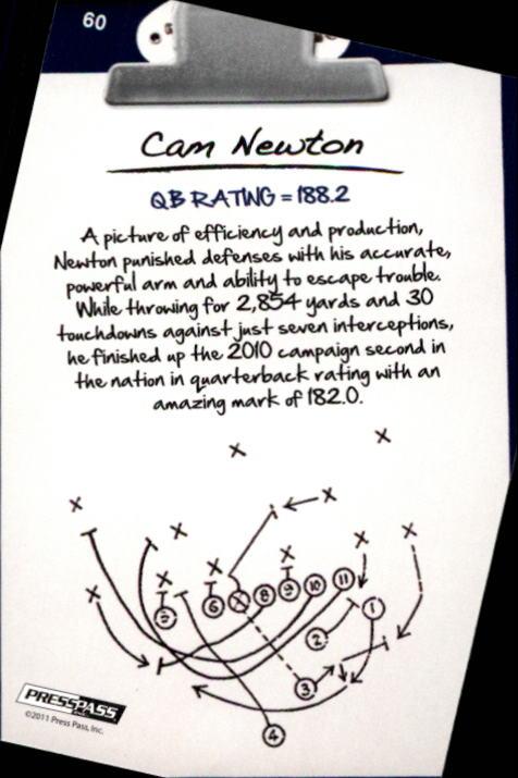 2011 Press Pass #60 Cam Newton NL back image