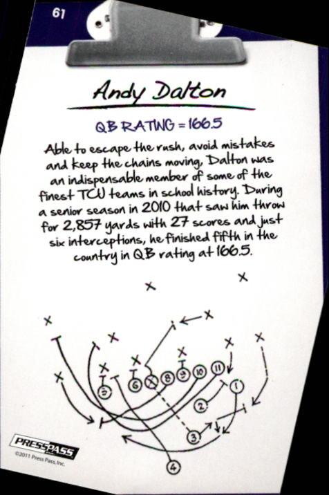 2011 Press Pass #61 Andy Dalton NL back image