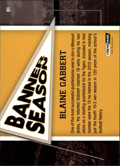 2011 Press Pass #81 Blaine Gabbert BS back image