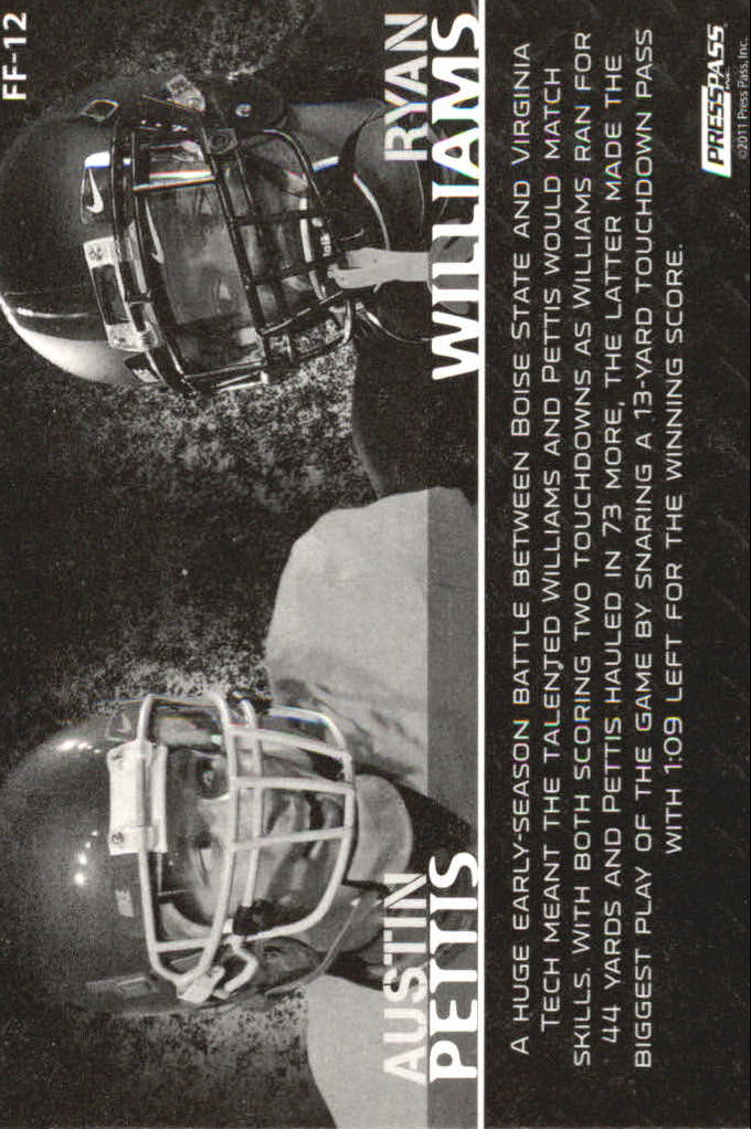 2011 Press Pass Face to Face #FF12 Ryan Williams/Austin Pettis back image