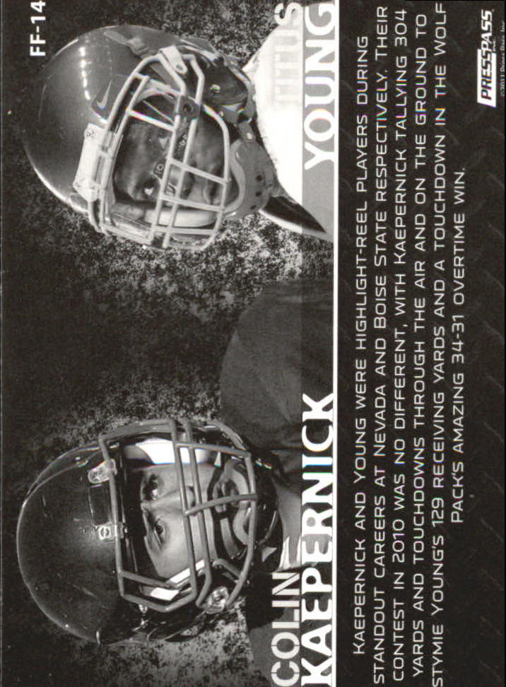 2011 Press Pass Face to Face #FF14 Colin Kaepernick/Titus Young back image