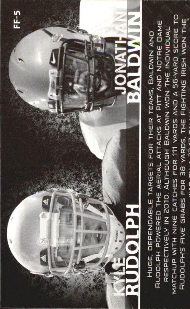 2011 Press Pass Face to Face #FF5 Jonathan Baldwin/Kyle Rudolph back image