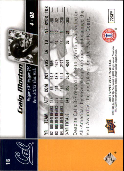 2011 Upper Deck #16 Craig Morton back image