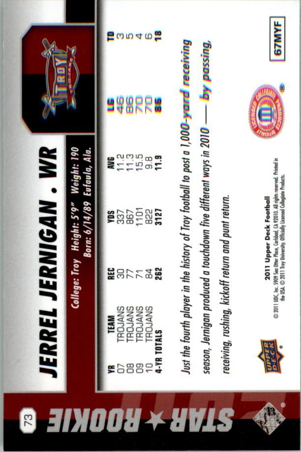 2011 Upper Deck #73 Jerrel Jernigan SP back image