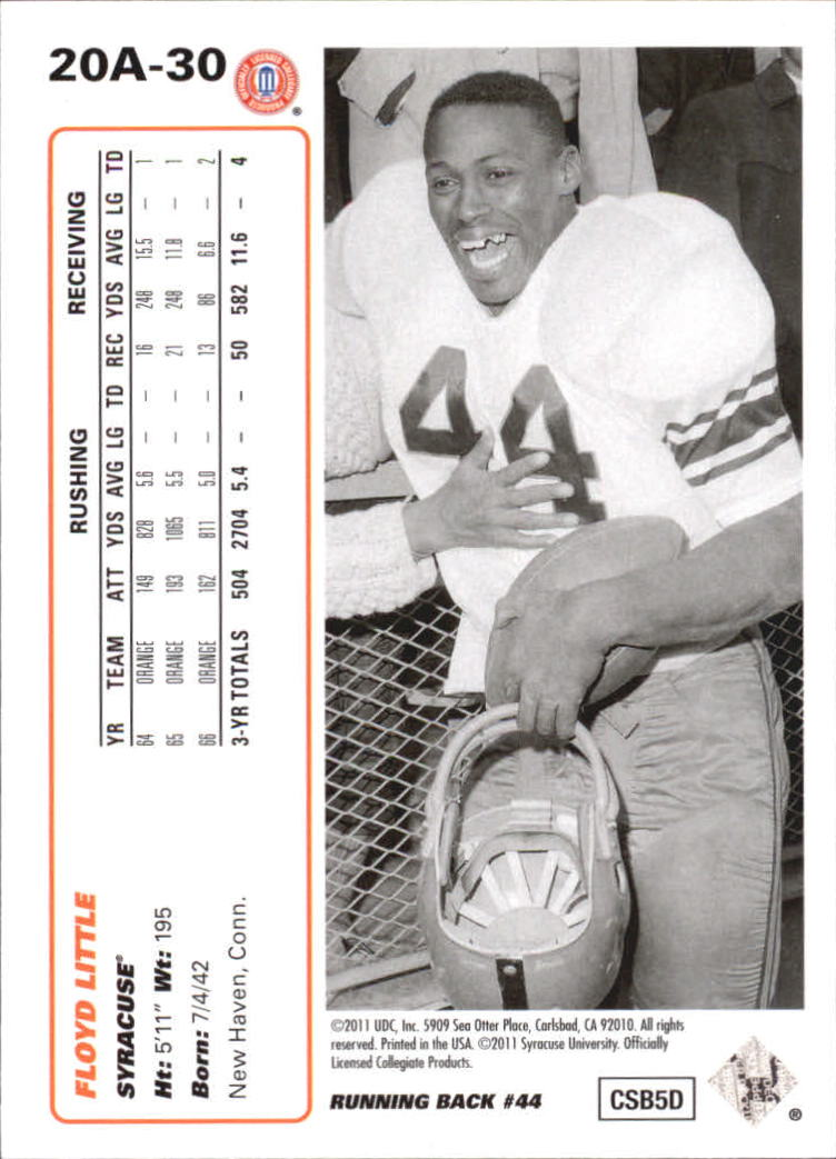 2011 Upper Deck 20th Anniversary #20A30 Floyd Little back image