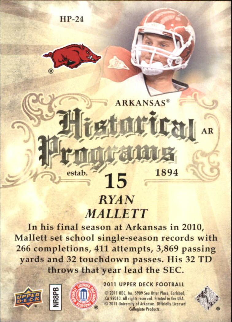 2011 Upper Deck Historical Programs #HP24 Ryan Mallett back image