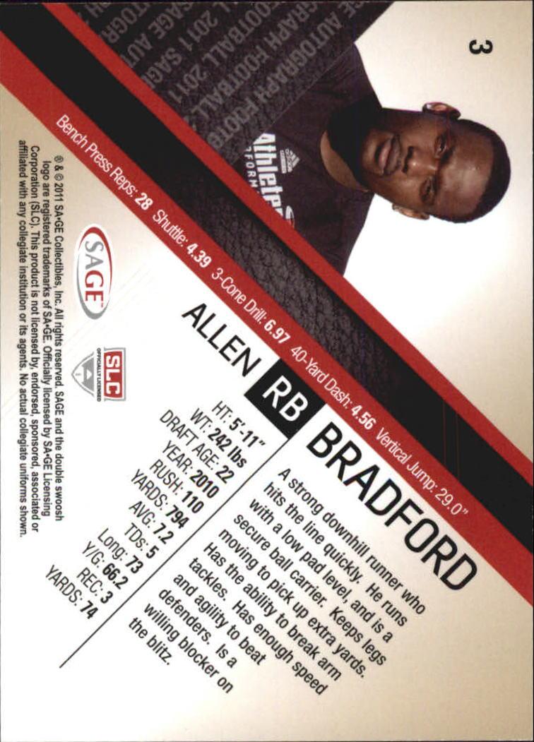 2011 SAGE #3 Allen Bradford back image