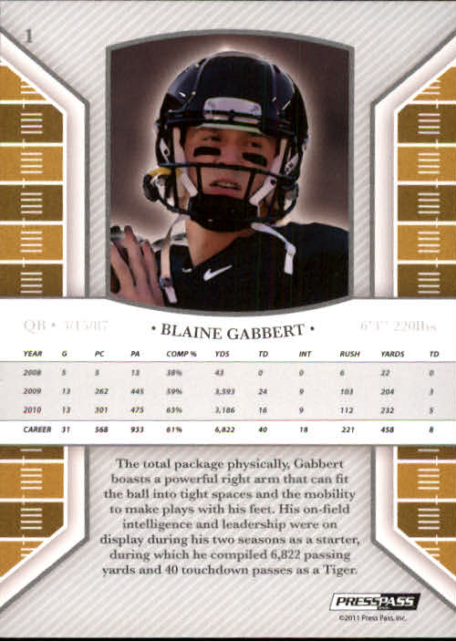 2011 Press Pass Legends #1 Blaine Gabbert back image