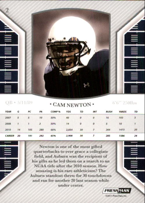 2011 Press Pass Legends #2 Cam Newton back image
