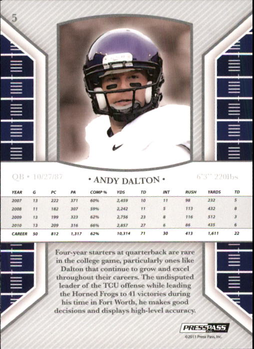 2011 Press Pass Legends #5 Andy Dalton back image