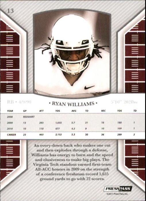 2011 Press Pass Legends #13 Ryan Williams back image