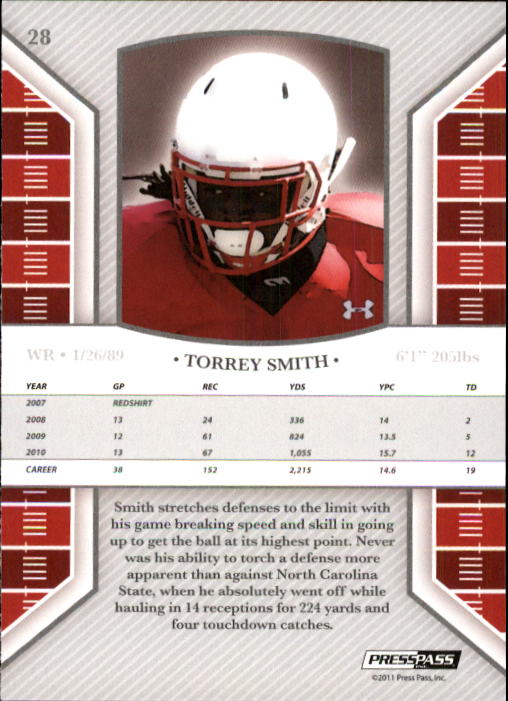 2011 Press Pass Legends #28 Torrey Smith back image