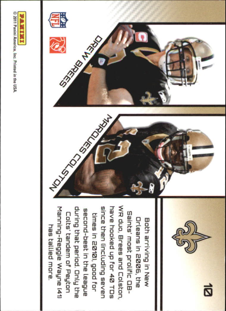 2011 Prestige Connections #10 Drew Brees/Marques Colston back image