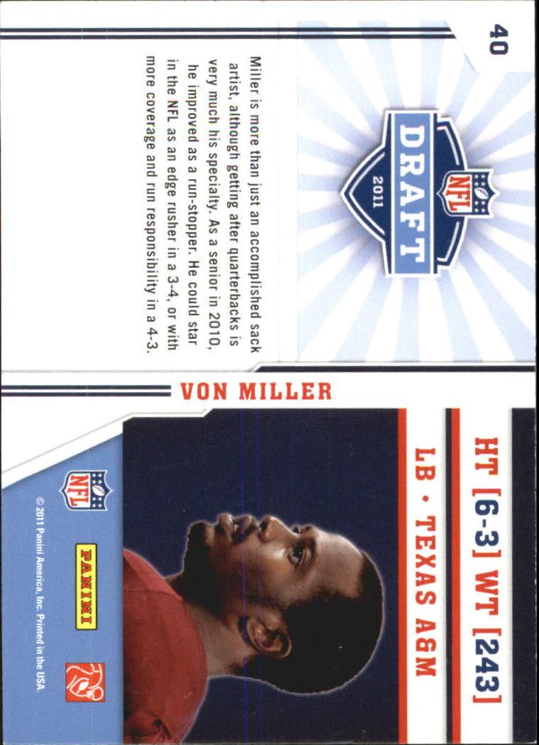 2011 Prestige NFL Draft #40 Von Miller back image