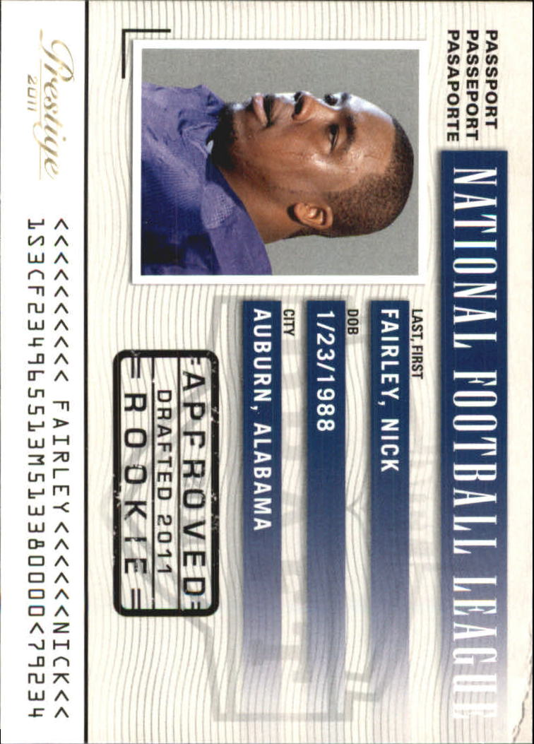 2011 Prestige NFL Passport #27 Nick Fairley