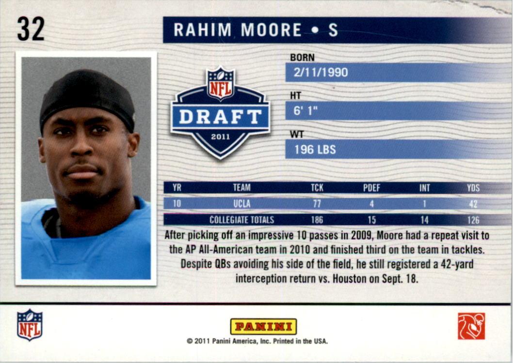 2011 Prestige NFL Passport #32 Rahim Moore back image
