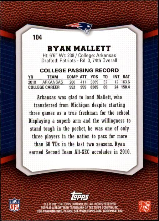 2011 Topps Rising Rookies #104 Ryan Mallett RC back image