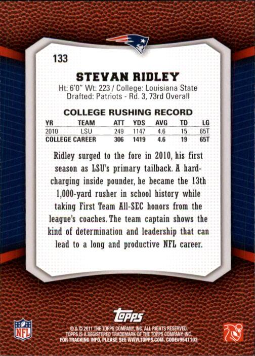 2011 Topps Rising Rookies #133 Stevan Ridley RC back image