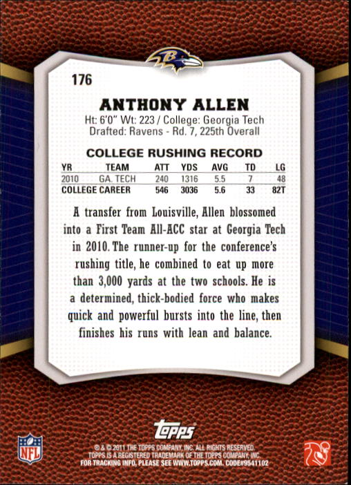 2011 Topps Rising Rookies #176 Anthony Allen RC back image