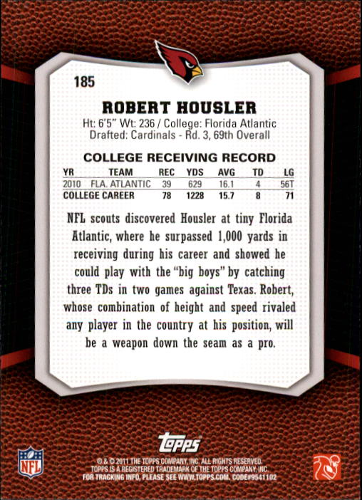 2011 Topps Rising Rookies #185 Robert Housler RC back image