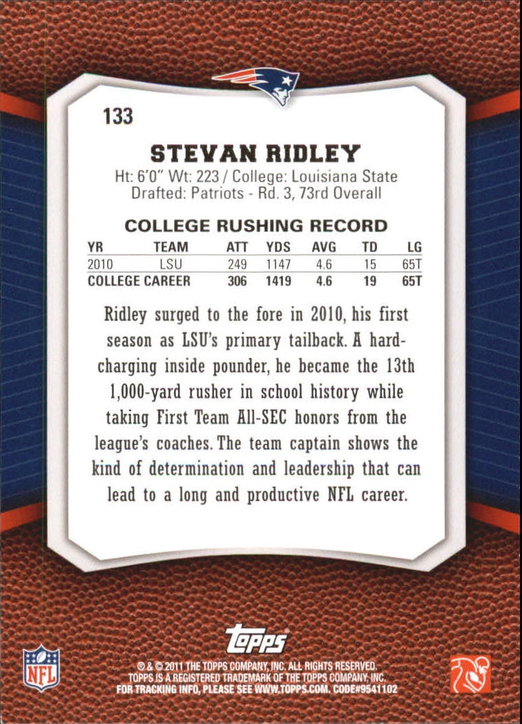2011 Topps Rising Rookies Gold #133 Stevan Ridley back image