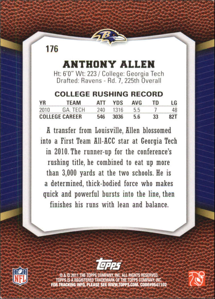 2011 Topps Rising Rookies Gold #176 Anthony Allen back image