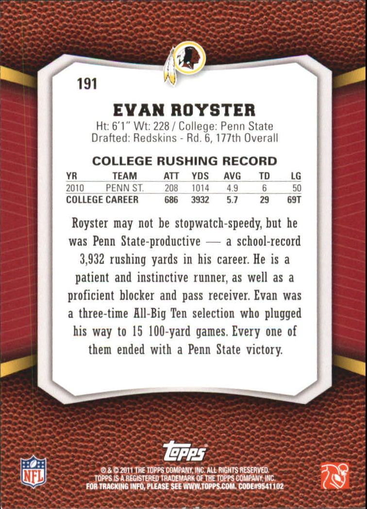 2011 Topps Rising Rookies Gold #191 Evan Royster back image