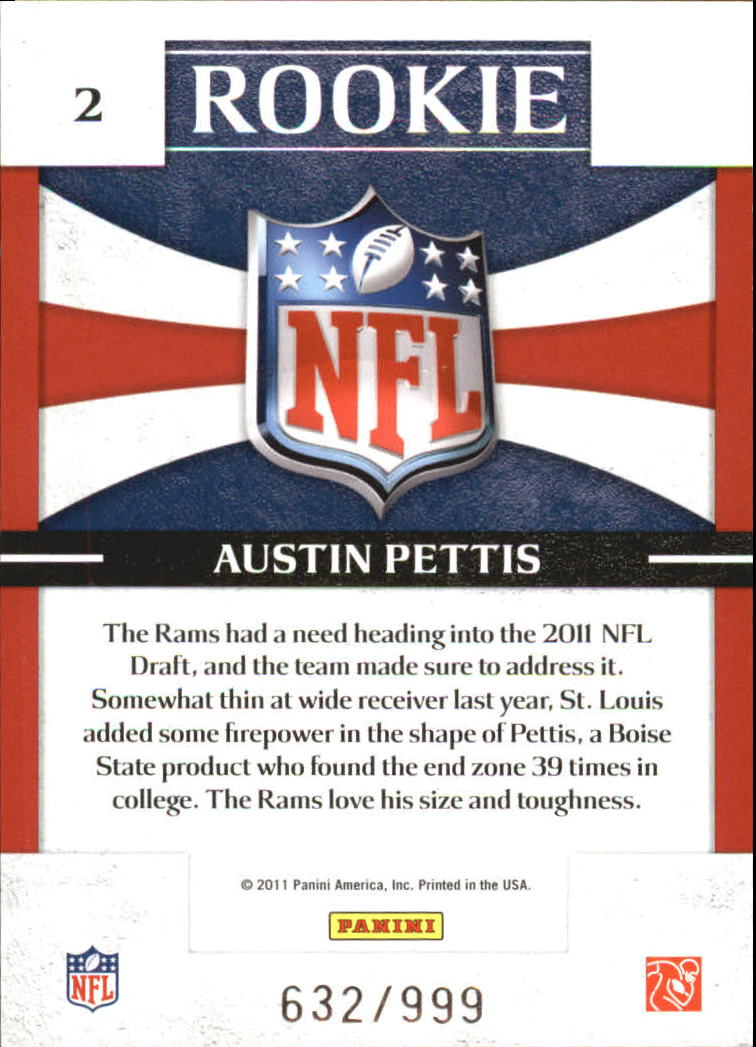 2011 Donruss Elite Rookie NFL Shield #2 Austin Pettis back image