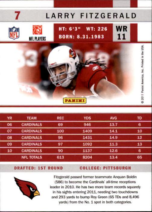 2011 Score #7 Larry Fitzgerald back image