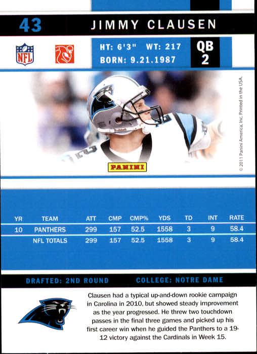 2011 Score #43 Jimmy Clausen back image