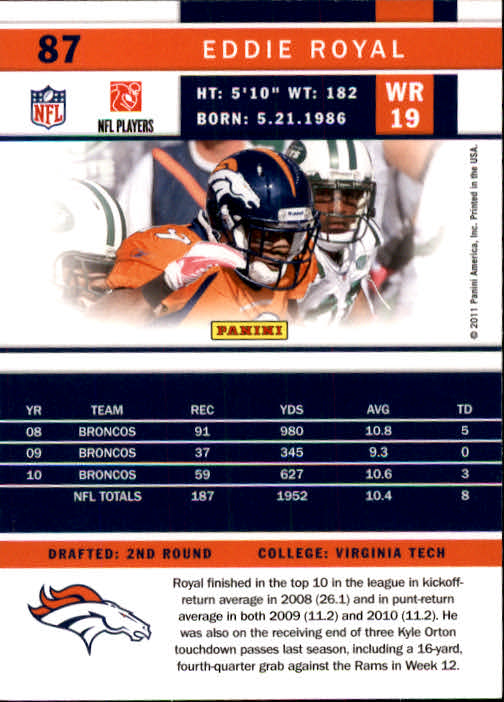 2011 Score #87 Eddie Royal back image
