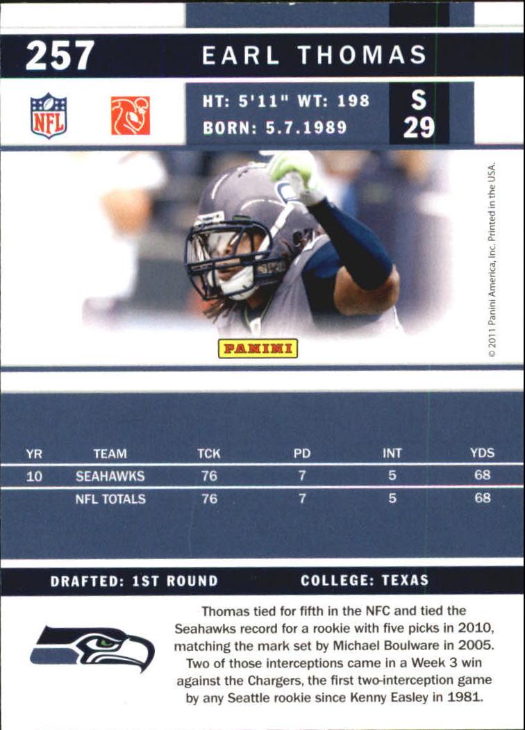 2011 Score Glossy #257 Earl Thomas back image